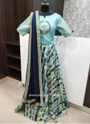 Cyan Blue Shibori Banarasi Silk Lehenga With HandWork Crop Top