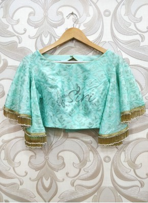 Designer Cyan Blue Silk Blouse in Bell Sleeves