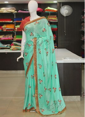 Cyan Green Double shade Kala Silk Saree in Embroidery Work Butis