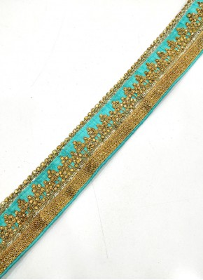 Cyan Lace Trim Border in Cording and Stone Work