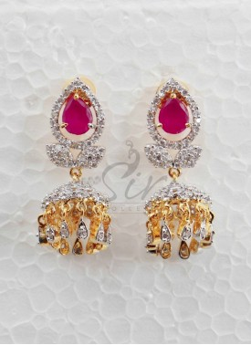 CZ Jhumkis in pink stone