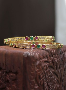 CZ Ruby Gold Micro Polish Pair of Bangles