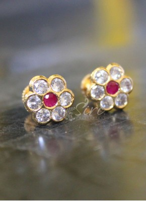 CZ ruby seven stone earrings