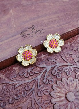 CZ Ruby Stone Flower Design Trendy Earrings