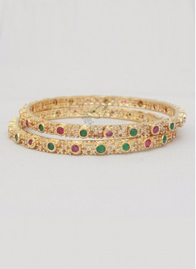 CZ Stone Beautiful Pair of Bangles