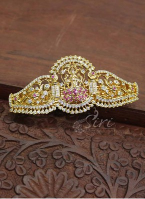 CZ Stone Gold Micro Polish Hair Clip Fashion Jewellery In Lakshmi Design