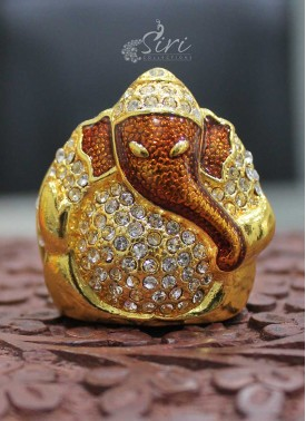 """CZs Studded Gold Plated Lord Ganesh Idol 1.5"""" inch height"""