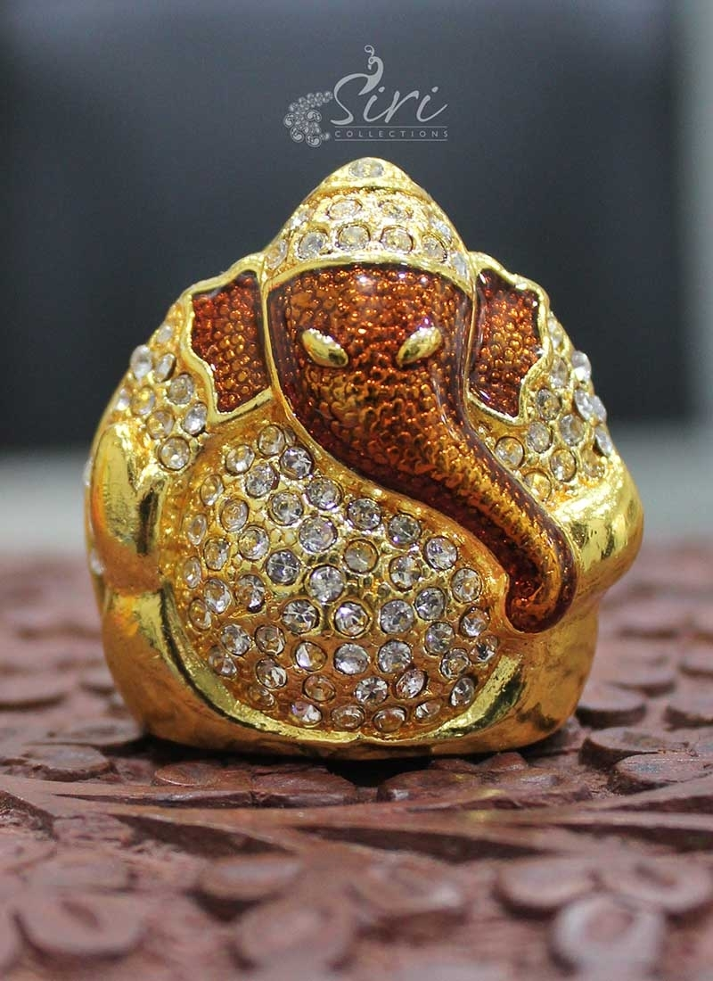"CZs Studded Gold Plated Lord Ganesh Idol 1.5"" inch height"