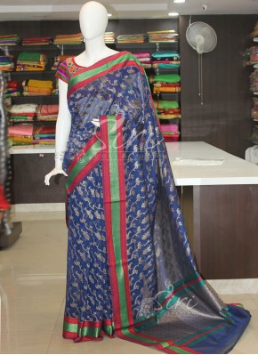 Dark Blue Cotton Silk Saree