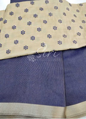 Dark Blue Soft Tissue Jute Saree with Designer Blouse Fabric