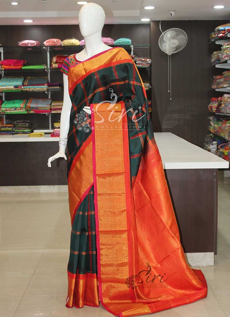 Dark Bottle Green Red Orange Pure Authentic Gadwal Handloom Silk Saree