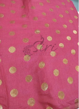 Dark Gajri Pink Fancy Banarasi Silk Fabric Per Meter