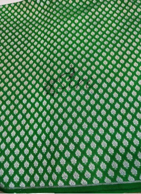 Dark Green Banarasi Silk Fabric in Silver Zari Butis Per Meter