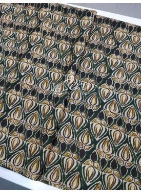 Dark Green Black Manipuri Silk Fabric in Digital Print Fabric Per Meter