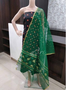 Dark Green Fancy Banarasi Jute Net Dupatta