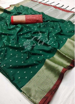 Dark Green Fancy Soft Silk Saree in Silver Zari