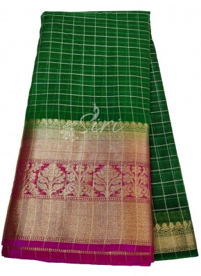 Dark Green Organza Checks Fabric with Kanchi Border per meter