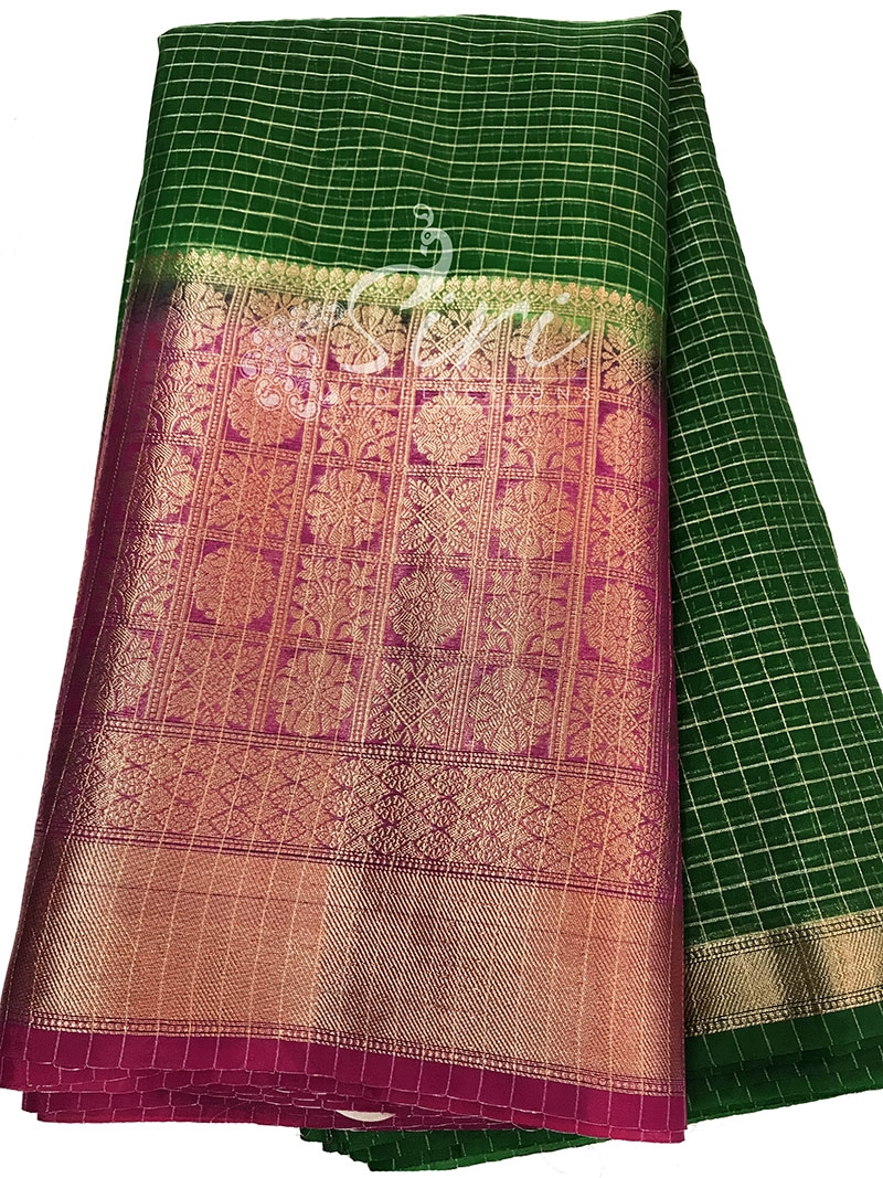 Dark Green Organza Checks Fabric with Magenta Pink Contrast Kanchi Border per meter