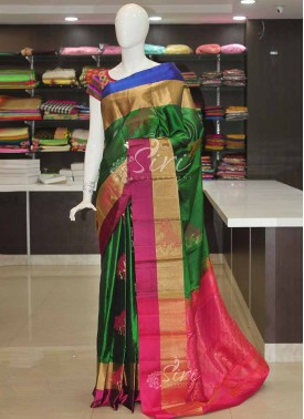 Dark Green Purple Blue Pure Handloom Silk Saree