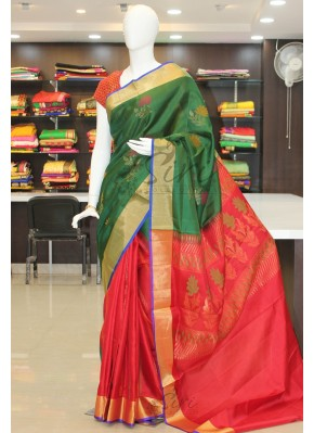 Dark Green Red Patli Pallu Pure Uppada Silk Saree