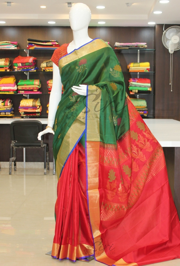 fdccf4d64c2ed0 Dark Green Red Patli Pallu Pure Uppada Silk Saree. Zoom