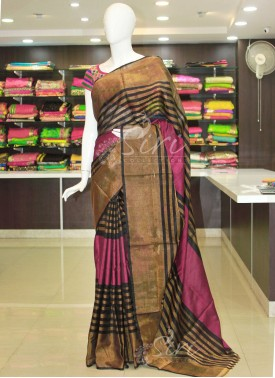 Dark Magenta Black Pure Uppada Silk Saree in zari stripes