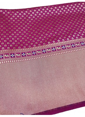 Dark Magenta Pink Banarasi Silk Fabric in one side Border Design Per Meter