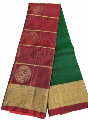 Dark Maroon Green Pure Handloom Designer Soft Silk Saree