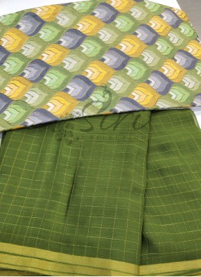 Dark Mehendi Green Chiffon Saree in Self Zari Checks with Beautiful Designer Blouse