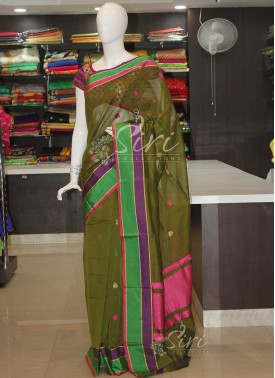 Dark Olive Green Cotton Silk Saree