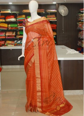 Dark Orange Reddish Maroon Banarasi Kora Saree in Self Zari Checks