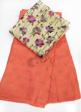 Dark Peach Jute Silk Saree in Self  Zari Polka Dots