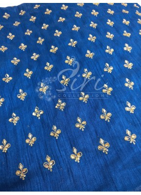 Dark Blue Raw Silk Fabric in Gold Embroidery and Stone Work by Meter