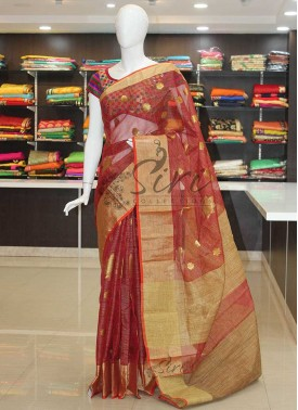 Dark Red Fancy Kota Saree in Jute Border and Pallu