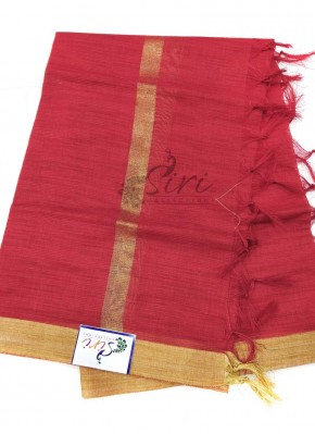 Dark Red Jute Chanderi Dupatta