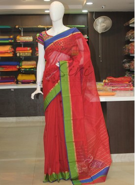 Dark Red Pure Chanderi Cotton Silk Saree in contrast borders