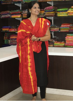 Dark Red Yellow Tie and Dye Pure Chinon Dupatta in Self Embroidery Work