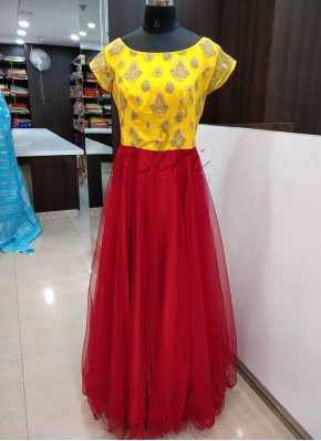 Dashing Yellow Red Long Frock