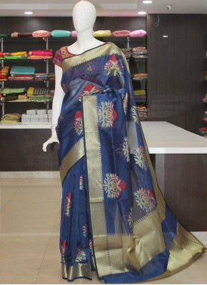 Deep Blue Fancy Kota Saree in Multi Colour Butis and Rich Pallu