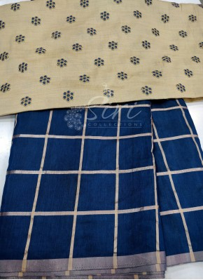 Deep Blue Silk Saree in Self Checks with Designer Blouse