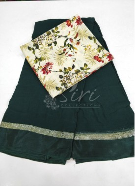 Deep Green Georgette Saree in Satin Borders With Digital Print Blouse Fabric