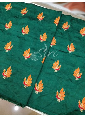 Deep Green Raw Silk Fabric in Peacock Design Butis Embroidery Work Per Meter