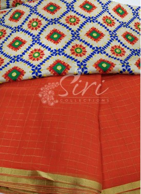 Deep Orange Chiffon Saree in Self Zari Checks with Beautiful Designer Blouse