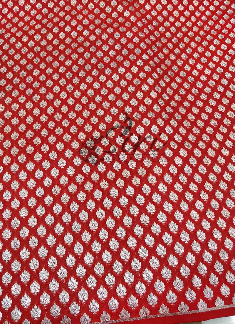 Deep Red Banarasi Silk Fabric in Silver Zari Butis Per Meter