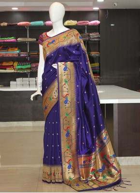 Deep Violet Peacock Design Fancy Paithani Silk Saree