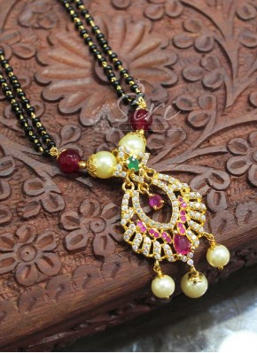Designer AD Pendant with Black Beads Mangalsutra