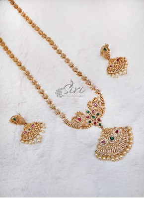Designer AD Stone Peacock Design Long Necklace Set