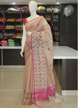 Designer Baby Pink Soft Tissue Saree in Embroidery Work