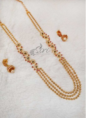 Designer Balls Step Chain Long Necklace Set