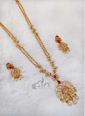 Designer Balls Step Chain Long Necklace Set in Lakshmi Pendant
